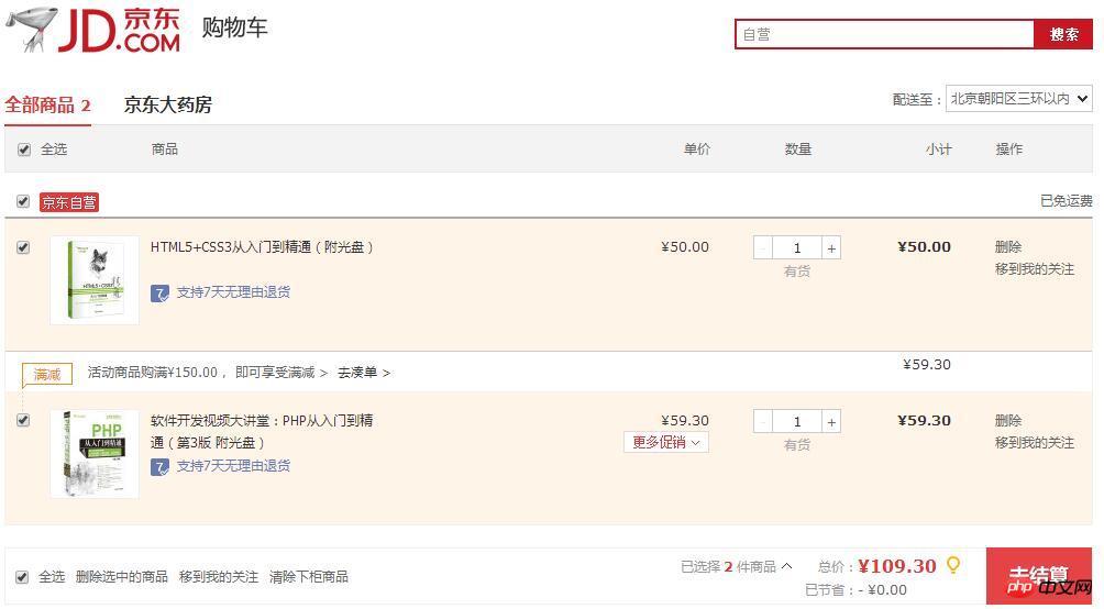 php购物车功能