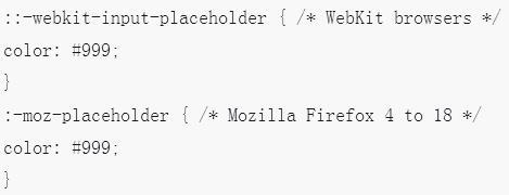 关于HTML5 input placeholder 的颜色修改