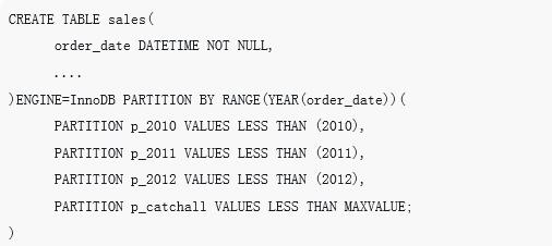 MySQL中分区表的详细介绍