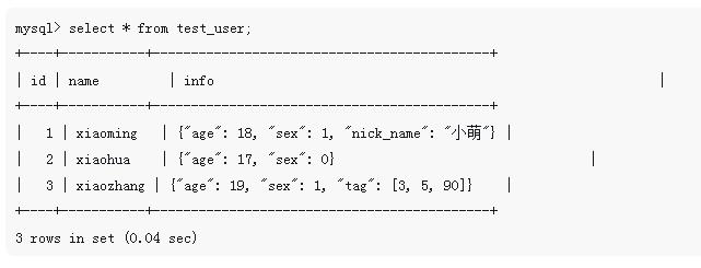 MySQL5.7的JSON基本操作(代码示例)