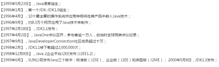 系统整理Java语言的发展历程