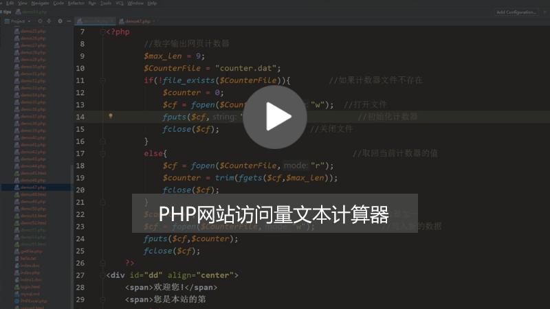 PHP统计网站访问量:文本计数器的实现方法(图文+视频)