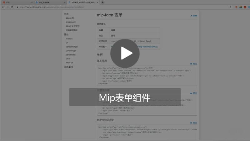 Mip中表单组件怎么用