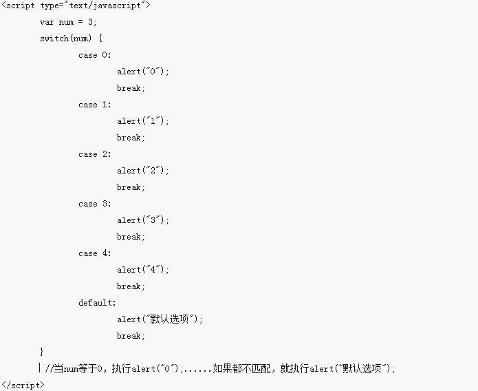 JavaScript学习之switch语句用法介绍