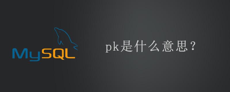 pk主键是什么意思?