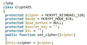 php实现AES加密类定义与用法