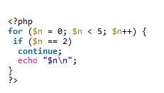 PHP用continue跳过循环中剩余代码实现方法