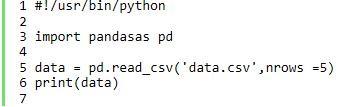 使用实现pandas读取csv文件指定的前几行