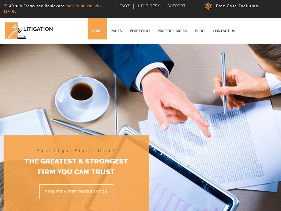 橙色宽屏大气自适应律师事务所HTML5网站模板