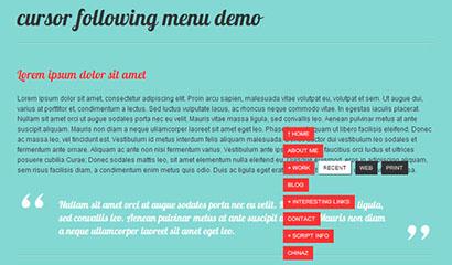 jquery菜单跟随鼠标移动特效