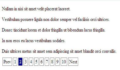 jQuery前端分页显示特效