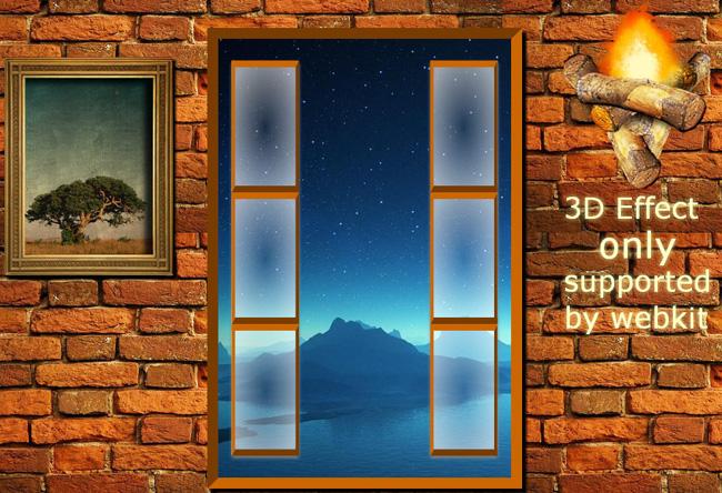 jquery推开窗户3D特效