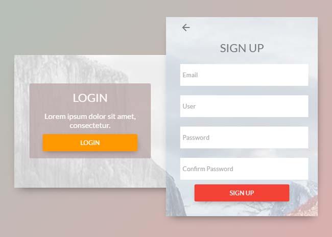 CSS3登录注册窗口界面滑动切换特效
