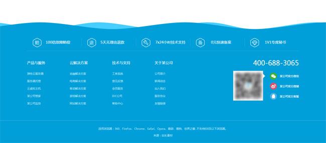 jQuery网站底部动态波浪背景特效