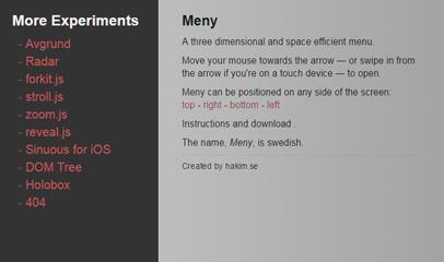 jquery鼠标经过立体显示折叠导航菜单代码meny