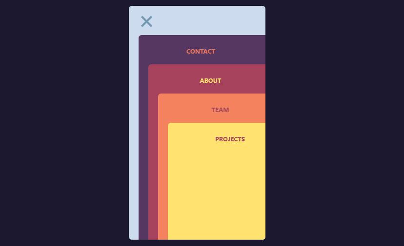 jQuery卡片堆叠展示导航菜单切换特效