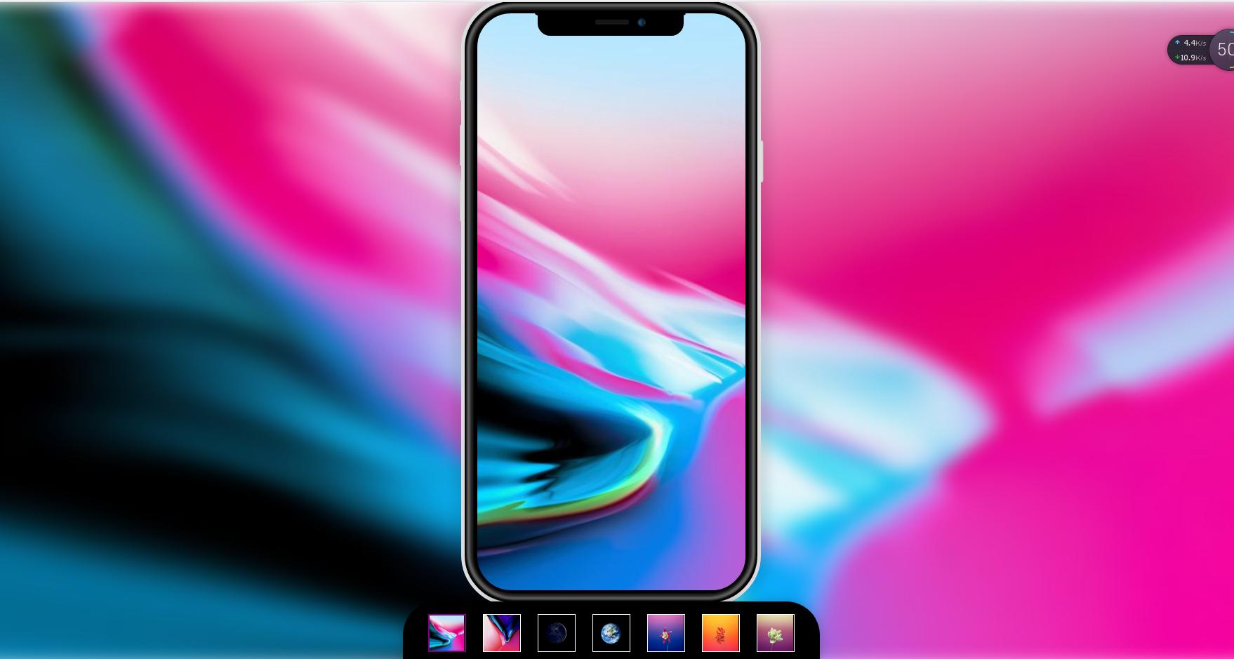 CSS3 做出iPhoneX手机屏幕背景和页面背景图片同时切换特效