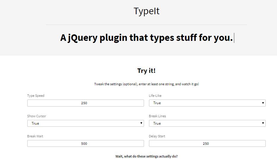 jQuery自定义打字特效插件