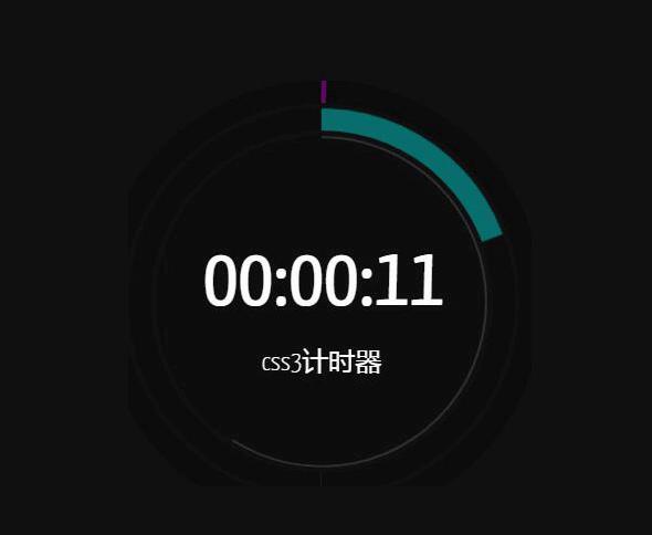 css3圆形进度条时分秒计时器js特效