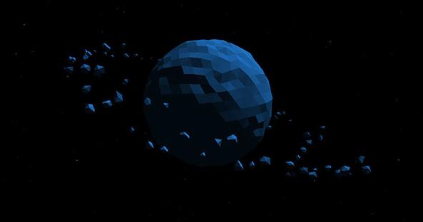 html5 canvas碎片3D环绕地球天体运动动画特效