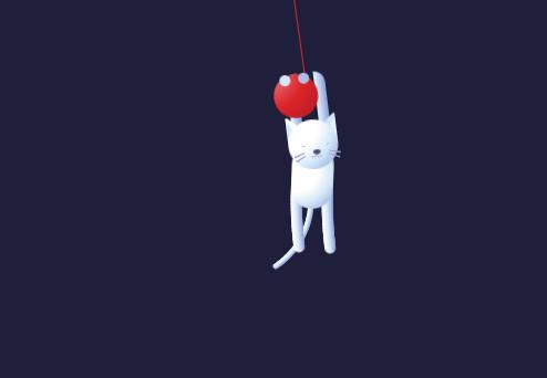 css3猫挂在线球上摇摆动画特效