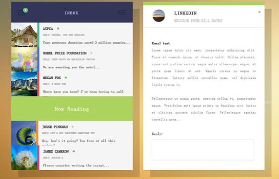H5+CSS3点击收件箱列表查看邮件特效