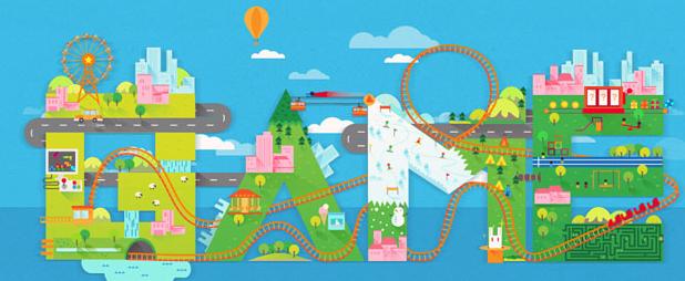 创意游乐园跑动的小火车H5动画特效