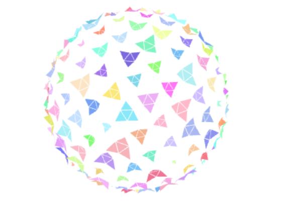多边形多彩折纸构图动态圆球js特效动画
