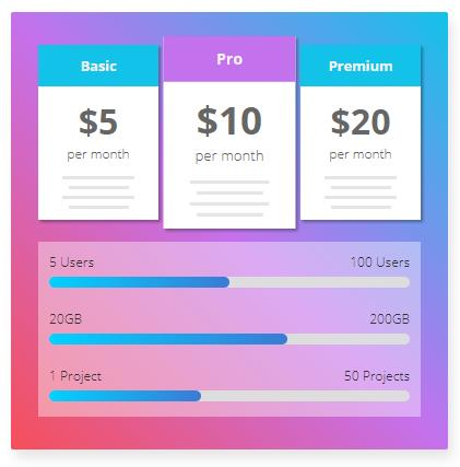 CSS3鼠標懸停項目價格表內容TAB切換特效