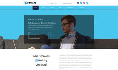 蓝色电子银行网站模板