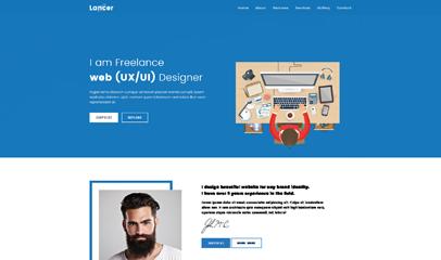 蓝色程序UI设计网站模板