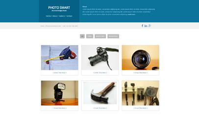 蓝色简洁个人摄影作品展示blog模板
