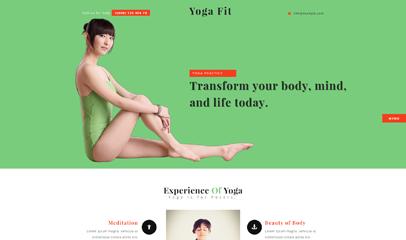 浅绿色瑜伽运动CSS3模板