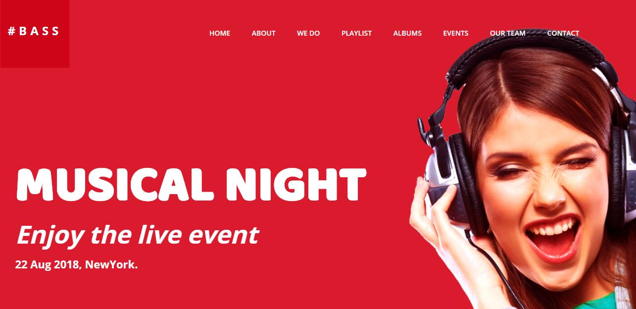 红色大气音乐网站模板