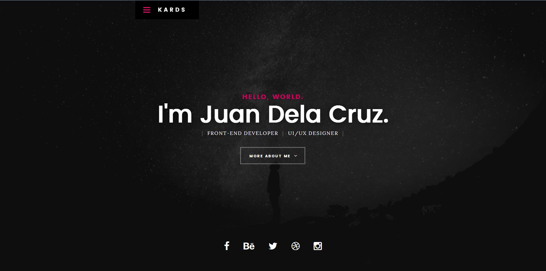 黑色全屏responsive博客web简历模板