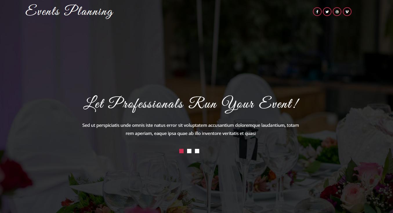 扁平化婚礼策划的网页模板