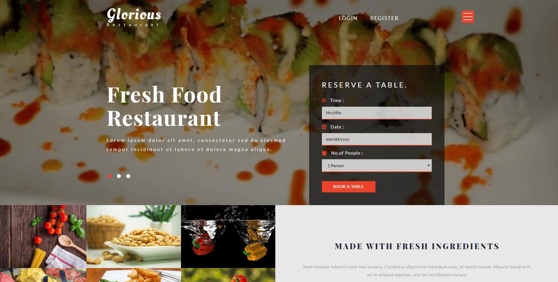光荣餐馆响应式的网站模板