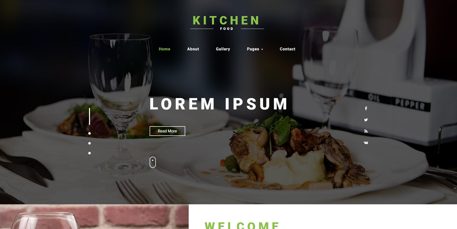 宽屏美食行业的网站模板