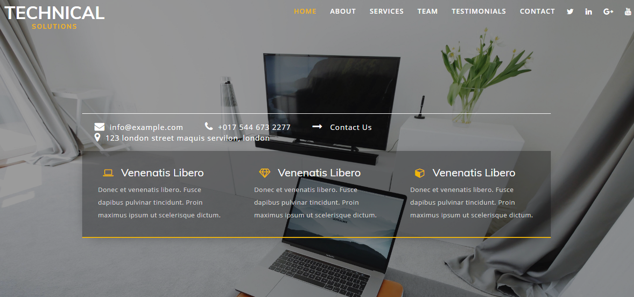 黑白电脑技术公司网站模板