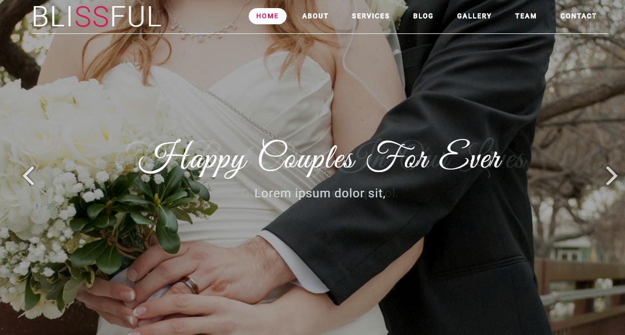 黑白情侣结婚照html5网页模板