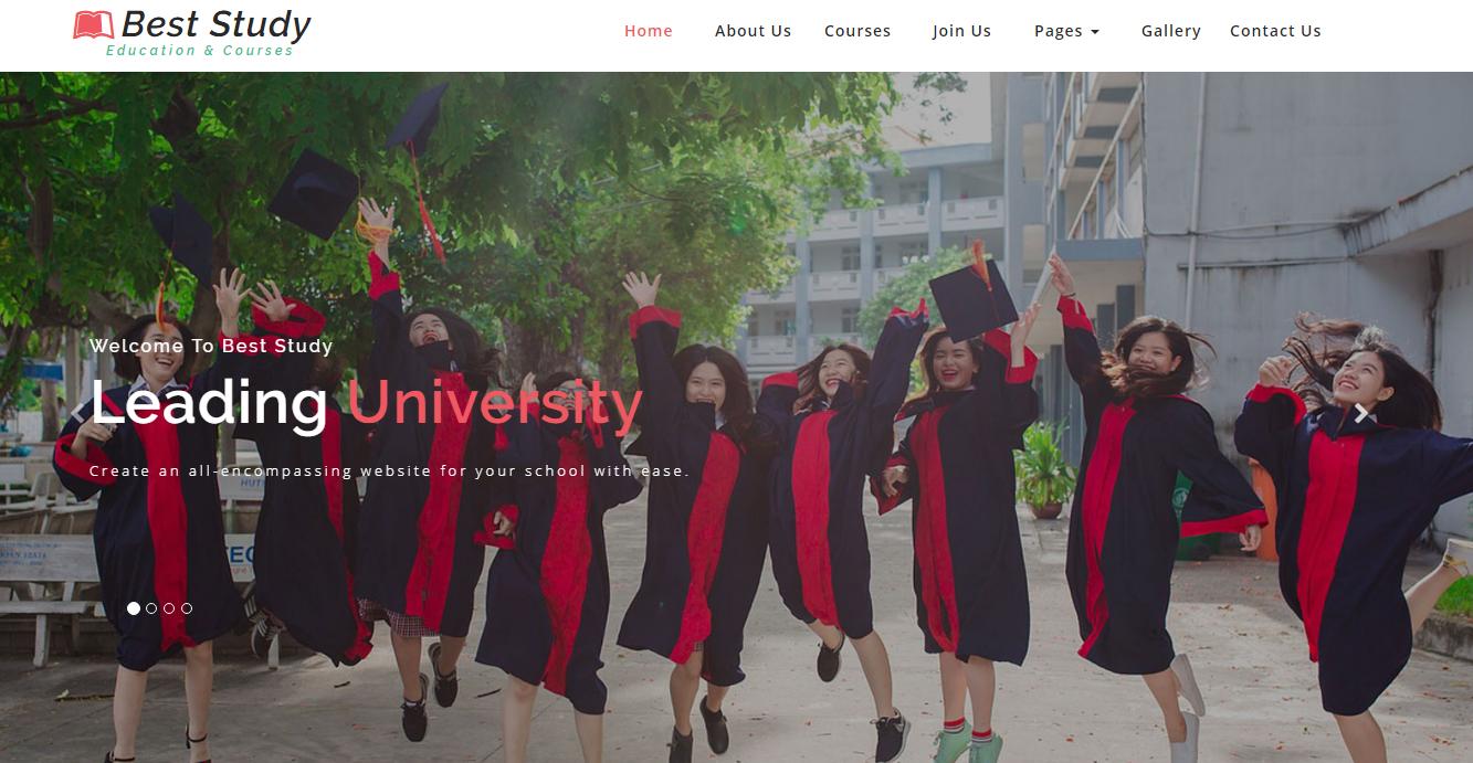 红绿色大气学校网站模板