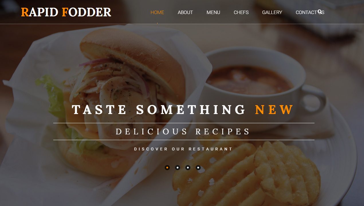 黄白色简洁西餐美食网站