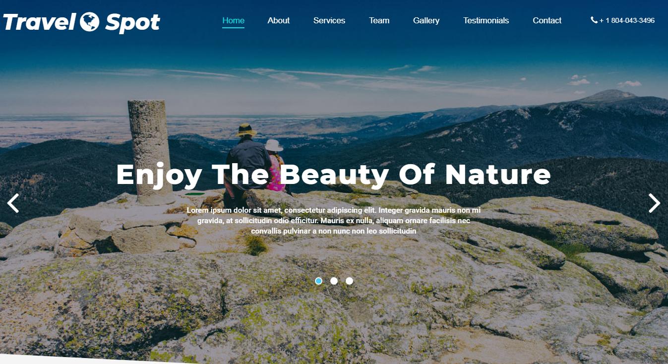 蓝色全屏旅游风景区网站模板