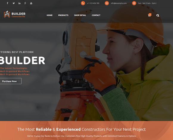 建筑勘察橙色设计网站模板