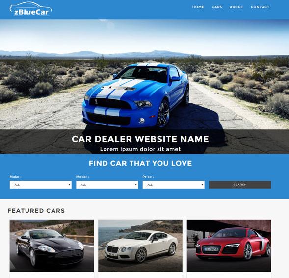 蓝色风格的汽车网站模板