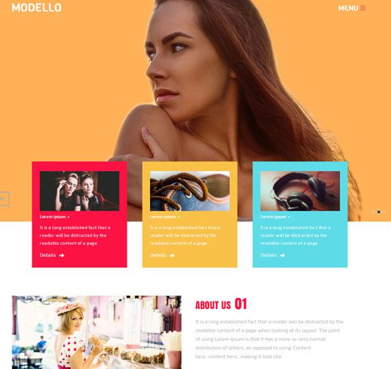 时尚糖果色平面模特网站模板