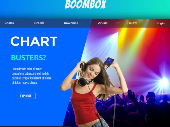 彩色音乐扬声器娱乐网站模板