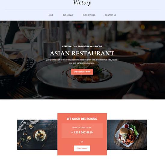 浅色清爽小炒美食网站模板