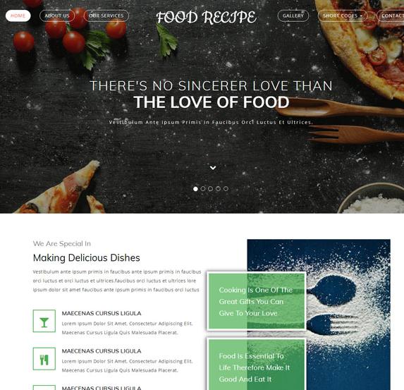小清新美食行业响应式网站模板