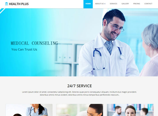 渐变蓝健康医疗诊所网站模板